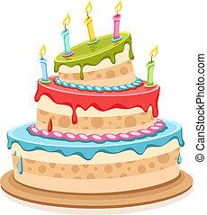 gâteau, doux, bougies anniversaire
