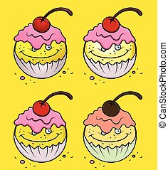 gâteau, emoticon, ensemble, dessin animé, tasse