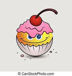 gâteau, emoticon, smiley, tasse, emoji