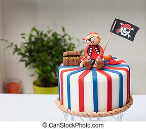 gâteau, enfants, pirate