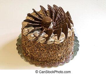 gâteau, entier, chocolat, anniversaire