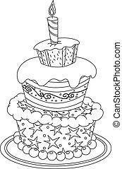 gâteau, esquissé, anniversaire