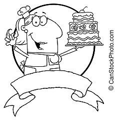 gâteau, esquissé, femme, haut, tenue