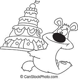 gâteau, esquissé, ours