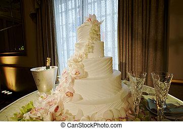 gâteau, fantaisie, mariage