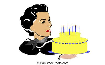 gâteau, femme, retro, mûrir