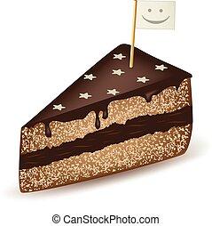 gâteau, figure, smiley, chocolat