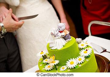 gâteau, figures, ligne, couteau, mariée, entre, coupure, sommet, long, mariage, palefrenier, porter