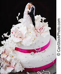 gâteau, fleurs, mariage, décoré, magnifique, crémeux