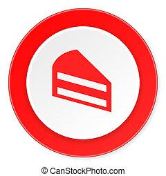 gâteau, fond, moderne, icône, cercle, conception, plat, rouges, 3d, blanc