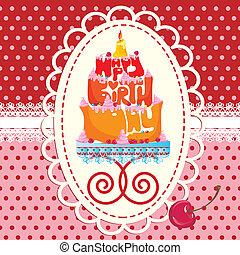 gâteau, formé, anniversaire, heureux