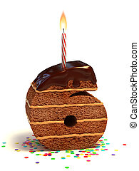 gâteau, formé, six, nombre, chocolat