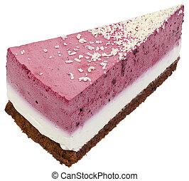 gâteau, fraise, coupure, couper, crème