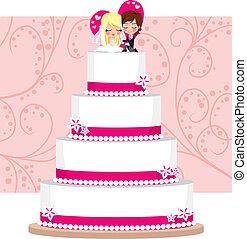 gâteau, fraise, mariage