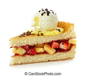 gâteau, fraises, glace