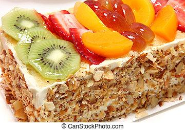 gâteau, fruit glacé, complété