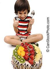 gâteau, fruit, manger, gosse