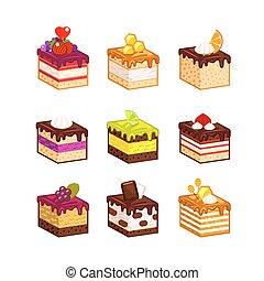 gâteau, fruit, tranches, différent
