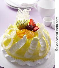 gâteau, fruits