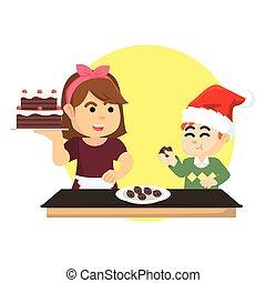 gâteau, garçon, manger, noël
