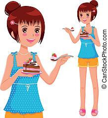gâteau, girl, manger