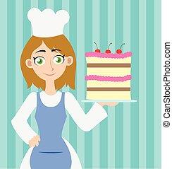 gâteau, girl, tenue