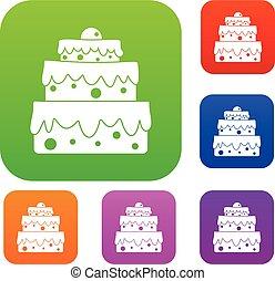 gâteau, grand, couleur, ensemble, collection