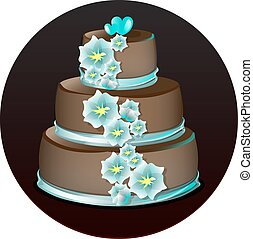 gâteau, grand, délicieux, chocolat