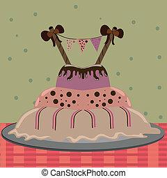 gâteau, grand, délicieux