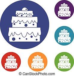 gâteau, grand, ensemble, icônes