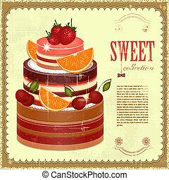 gâteau, grand, fruit, chocolat