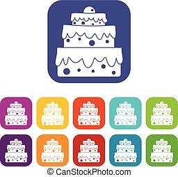 gâteau, grand, icônes, ensemble, plat