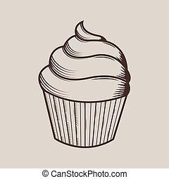 gâteau, graphique, crème