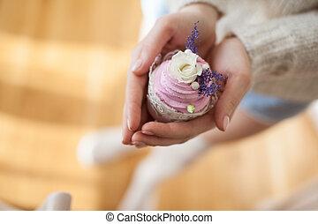 gâteau, hands., au-dessus, vue