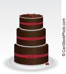 gâteau, illustration, chocolat