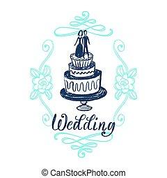gâteau, invitation, carte, illustration, décoratif, mariage, floral, frame., vecteur, lettering., main, dessiné
