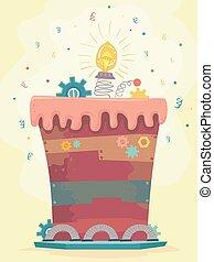 gâteau, junkyard, illustration