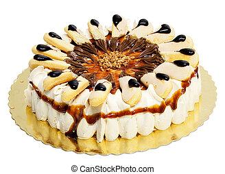 gâteau, lady-fingers, blanc, isolé, crème
