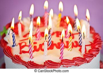 gâteau, lit, bougies anniversaire