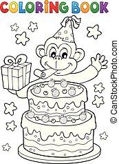 gâteau, livre, coloration, singe, fête