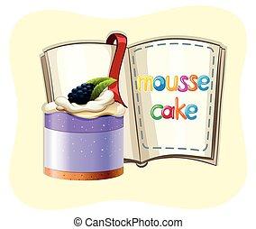 gâteau, livre, myrtille, mousse