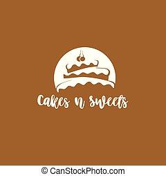 gâteau, logo, vecteur, minimal, illustration