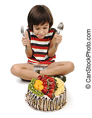 gâteau, manger, gosse