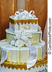 gâteau, mariage, decorated., specially