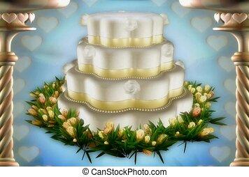 gâteau, mariage, mariage