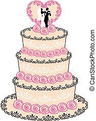gâteau mariage, vecteur