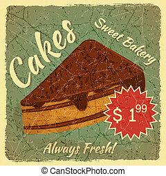 gâteau, menu, couper, retro, carte