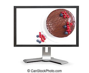 gâteau, moniteur ordinateur, chocolat