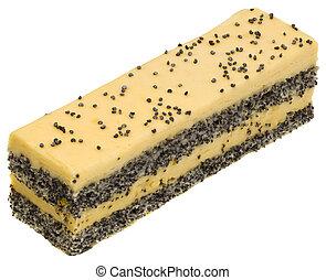 gâteau, pavot, coupure, crème