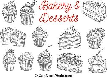 gâteau, petit gâteau, dessert fruit, et, tarte baie, croquis